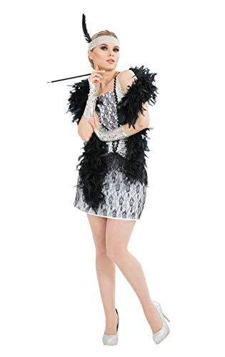 20er Jahre Charleston Damen Kostüm - Silber Gangster Kostüm