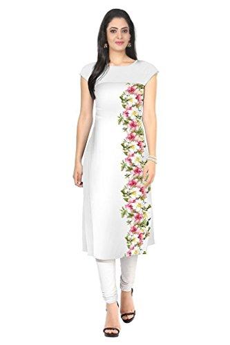 Kurti (Sai Fab Women\'s Crepe With Digital Print Printed White & Kurti) ( Free Size Altrable Till 42-44 OR XL)