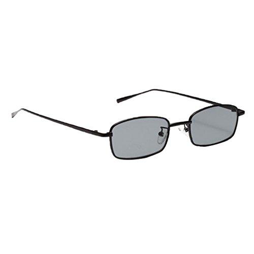 MagiDeal Damen Herren Sonnenbrille Rechteck Kleine Sonnenbrillen polarisierten Brille Metall gestell UV-Schutz Gläser Linse für Party Freizeit - schwarz