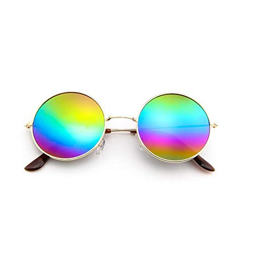 YLNJYJ Markendesigner-Klassische Runde Sonnenbrille-Mann-Kleine Weinlese-Retro- John Lennon Glasses Women Driving Metal Eyewear