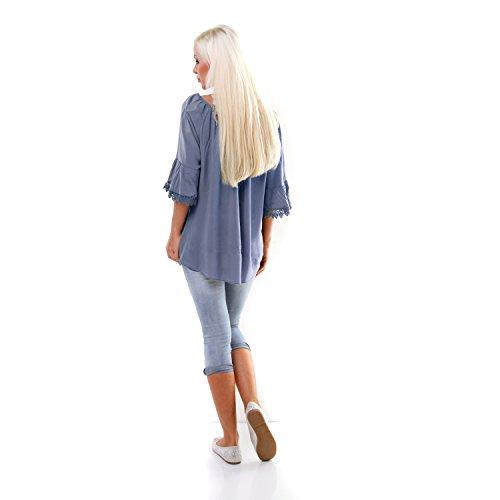Italy Tunika Bluse mit Loch Stickerei und Häkel Bordüren Hängerchen Oversize Shirt Jeans-Blau