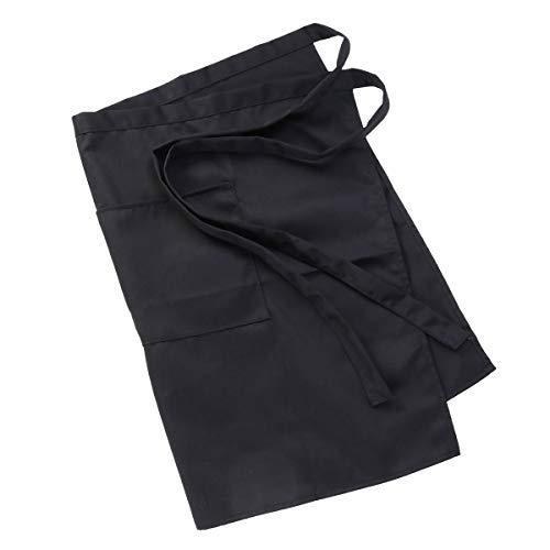 PIXNOR Unisex Damen Herren der Küche kochend Taille Schürze Kurze Schürze Kellner Schürze mit Doppel Taschen (Black)