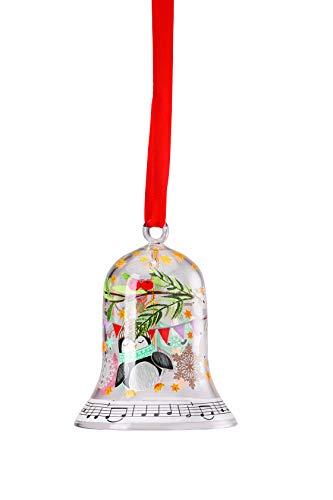 """Hutschenreuther Weihnachtslieder 2019"""" Schneeflöckchen, Weißröckchen 7 cm Glas-Glocke, Bunt"""