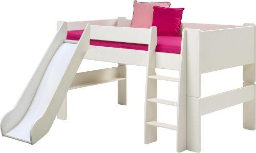 Steens For Kids Kinderbett, Hochbett, inkl. Rutsche, Absturzsicherung & Leiter, Liegefläche 90 x 200 cm, MDF, weiss