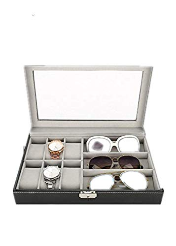 TMISHION Caja Almacenamiento Gafas Relojes 9 Compartimentos
