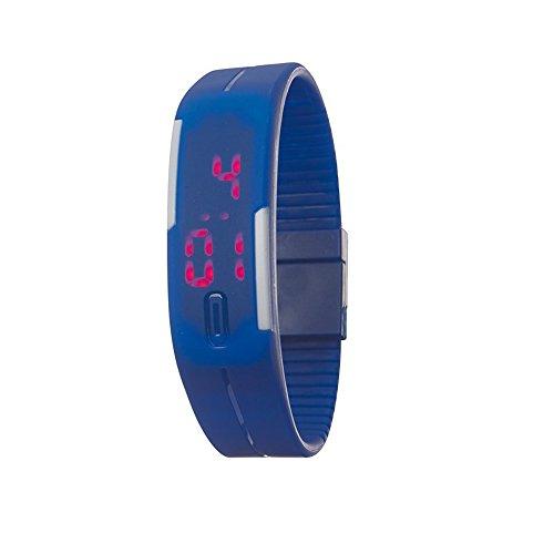 Armbanduhr Blau mit LED im Style von einem Fitnessarmband Armband lässt sich durch Abschneiden kürzen mit Magnethalter