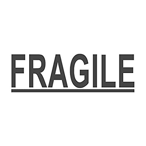 Fragile mit Underline voreingefärbter, Office Gummi Stempel (# 760607-c), Stil C Large size (58 x 18mm) rot