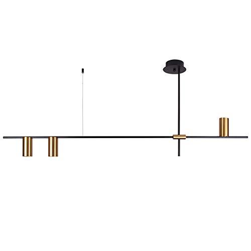 Lxhgl Zeitgenössischer minimalistischer 3-Licht-Kücheninsel-Anhänger, Mattschwarz mit antikem Messing-Lampenschirm-Finish, geometrischer moderner linearer Kronleuchter,Whitelight -