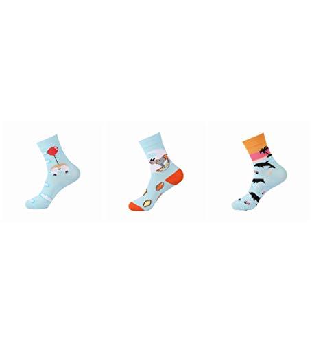 Socken Bunt,Hund Ballon Dolphin Muster Neuheit Weichen Gemütlichen Bunten Frauen & Amp; Männer Socken Harajuku Streetwear Funny Cute Cartoon Einhorn Pinguin Hippo Donut Koreanisches Mädchen Kunst So