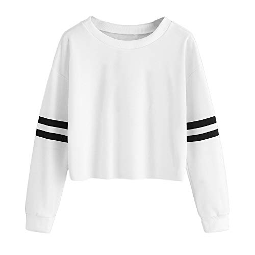 6048e13461fd2 Pull femme Sweat-shirt Simple solide,Koly Pullover crop Tops Manches  longues à rayures
