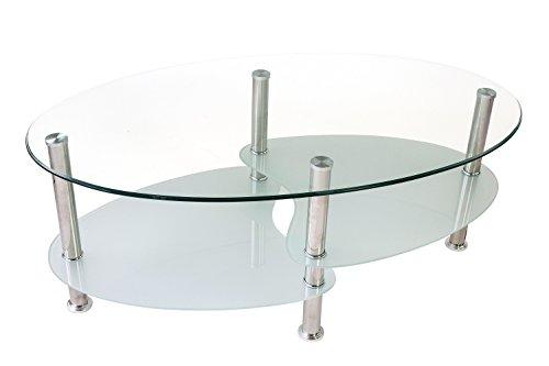 Avanti trendstore biagio - tavolino da divano a forma ovale in vetro temperato trasparente, con 2 ripiani in vetro satinato e piedi in metallo cromato, dimensioni: lap 100x42x60 cm