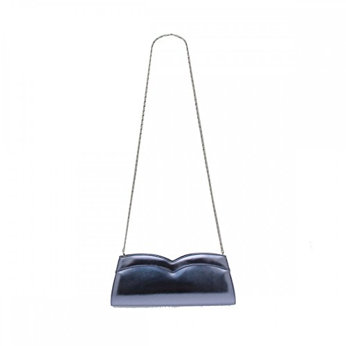 Azuree Metal Blue Clutch With Chain Blue