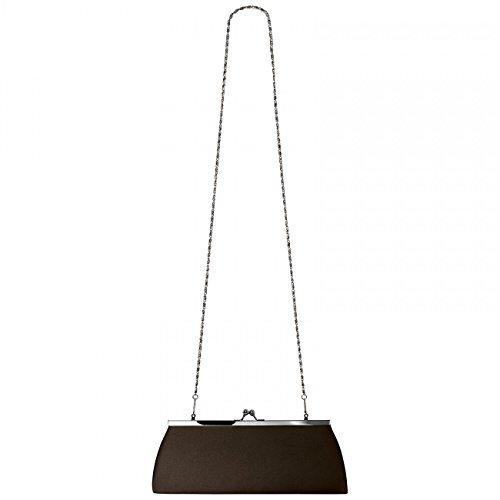 CASPAR klassische Damen Satin Clutch / Abendtasche mit elegantem Metallbügel - viele Farben - TA309 Dunkelbraun