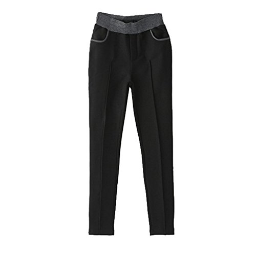 YiLianDa Épais Hiver Doublure Polaire Leggings Longueur Maxi Coton Chaude Tissu Noir