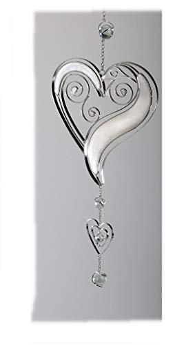 Formano Fenster-Deko Fensterhänger Herz hängend Dekohänger Glasbild Tiffany Weiss/Silber Sommer Muttertag 52cm Groß