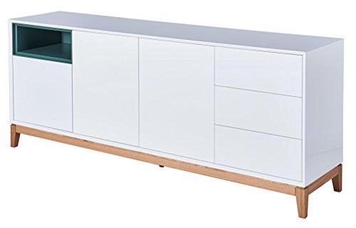 CAGUSTO® Sideboard HEGRA, weiß Hochglanz Holz Eiche massiv, 199 x 45 x 80, skandinavisches Design, Lieferung bis Bordsteinkante. auch als Set mit Lowboard, Highboard und Couchtisch erhältlich!