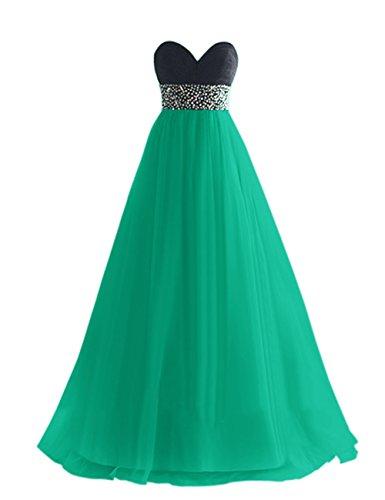 Dresstells, Robe de soirée de mariage/cérémonie/demoiselle d'honneur en tulle bustier en cœur pailletée Vert