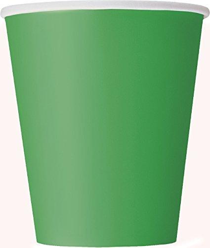 Unique Party Pappbecher,smaragdgrün, 270 ml,14er Packung