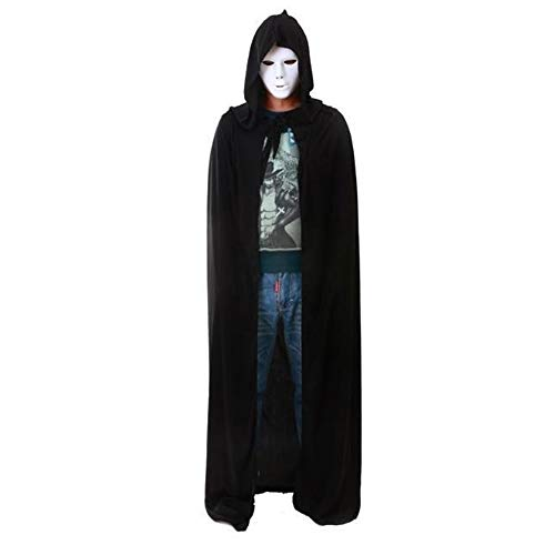 Vertvie Damen Herren Schwarz Halloween Umhang Mantel Mit Kapuze Halloween Accessoires Kostüm 175cm (Schwarz) Versailles Mantel