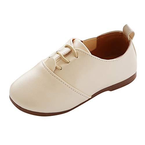 Alwayswin Kinderschuhe im Britischen Stil Mode Lederschuhe Bequem Freizeitschuhe Kinder Jungen Mädchen Bohemian Casual Sandalen Loafer Flache Einzelne Schuhe Anzug Schuhe (Bluse Eine Weiße Besten Am)