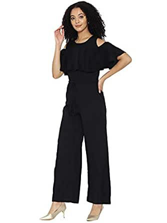 dd4513072aff cottinfab Solid and Printed Cold-Shoulder Jumpsuit  Amazon.in ...