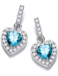 9ce57cc4a Sterling Silver Heart with Blue Topaz Centre Stone Stud Earrings (5274)