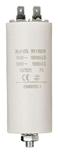 Eurosell Premium Kondensator Betriebskondensator Motorkondensator Anlaufkondensator Arbeitskondensator Steckeranschluss ohne Kabel 20 µF / 450 v + Earth