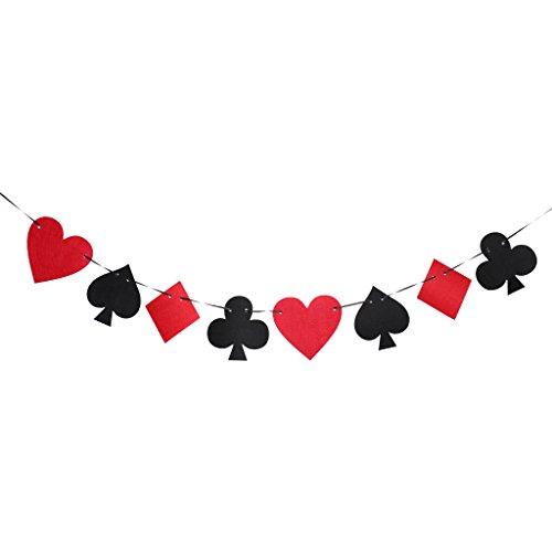 Sharplace Casino Playing Cards Felt Banner Poker Game Room Birthday Party Supplies