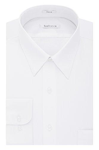 Van Heusen Men's Poplin Regular Fit Solid Point Collar Dress Shirt, White, 15.5
