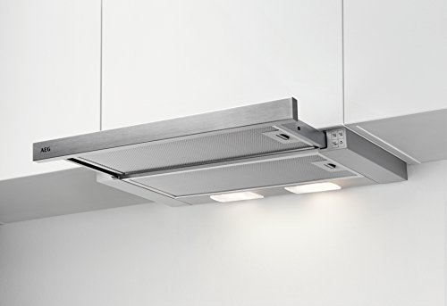 AEG DPB2621S Dunstabzugshaube (Einbau) / Silber / ausziehbare Flachschirmhaube mit 3 Leistungsstufen und LED-Beleuchtung / mit Edelstahlblende / 60 cm Einbau Dunstabzug