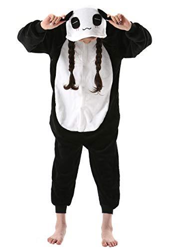 Panda Strampelanzug Kostüm - Jumpsuit Onesie Tier Fasching Karneval Halloween Kostüm Kinder Mädchen Junge Sleepsuit Overall Pyjama Unisex Lounge Cosplay Schlafanzug Panda for Höhe 90-148CM