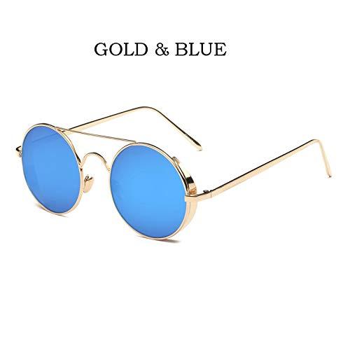 YUHANGH Sonnenbrille Spiegel Sunglases Punk Dampf Runde Männer Sonnenbrille Big Box Retro Männer Sonnenbrille Mode Bunt