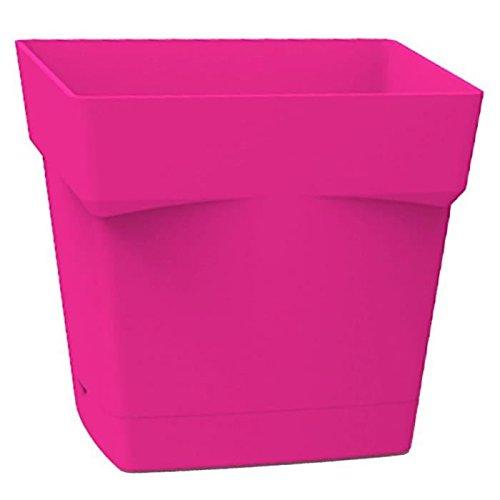 EDA Plastiques Pot TOSCANE carré avec Soucoupe clipsée 13641 RO.FU SX6 Fuchsia 17,4 x 17,4 x 17 cm