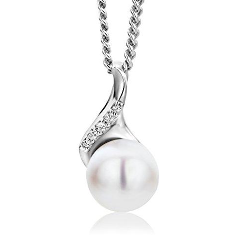 Miore Kette - Halskette Damen Kette Silberfarbig 925 Sterling Silber  Weißer Zirkonia Steinchen Süßwasserperle 45 cm
