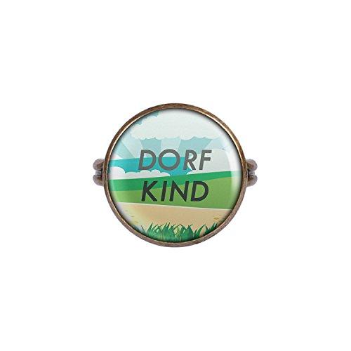 Mylery Ring mit Motiv Dorf-Kind Land Heimat Nr.4 bronze 16mm