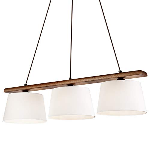 Pendel-Leuchte Decken-Leuchte VERONA aus Eiche (Nussbaum), Skandinavischer Stil, 3-Flammig für E27 Leuchtmittel für Wohnzimmer, Esstisch, Flur, Schlafzimmer etc.