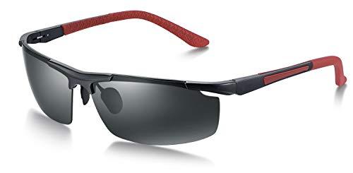 WHCREAT Herren Polarisierte Sonnenbrille Sportbrille mit Ultraleicht AL-MG Rahmen(Schwarz Rahmen Rote Beine - Schwarz Linse)