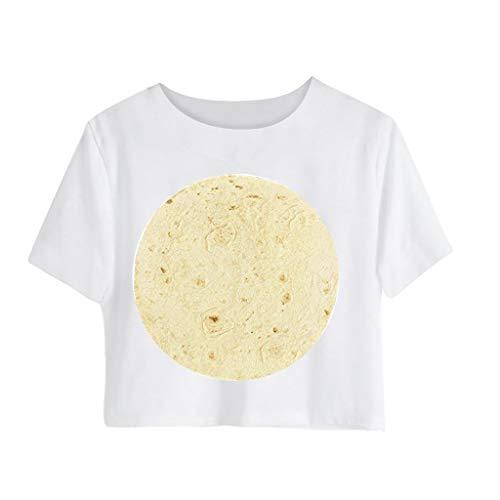 Thermal Henley Top (Lazzboy Mexikanisches Top T-Shirt mit Huhn-Print für Frauen Kurzärmliges (Weiß,S))