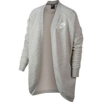 Nike Damen Rally Top Rib Cardigan, Heather/Pale Grey/(White), M