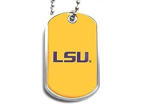 NCAA LSU Tigers Sports Team Logo Dog Fan Tag Domed Necklace Charm Chain by Aminco International