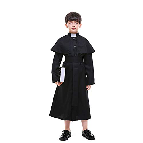 Kostüm Kinder Chor - HOOLAZA Kinder Schwarz Priester Pastor Kostüm Chor 3 Stücke Cosplay Kostüm Set