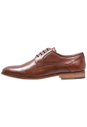 Pier One Herren Schnürschuh elegant - Halbschuhe zum Anzug - Business Schuhe Cognac-Braun, Größe 44