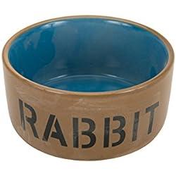 Beeztees 801482 - Cuenco de cerámica para conejo, 11,5 cm, color azul y beige