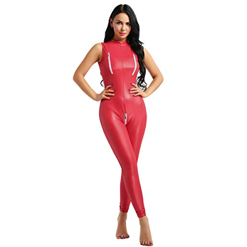 Tiaobug Damen Leder Ouvert Catsuit Wetlook Bodysuit