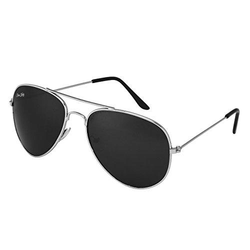 Silver Kartz Nickel Black Shiny Imperial Aviator Sunglasses (ac004)