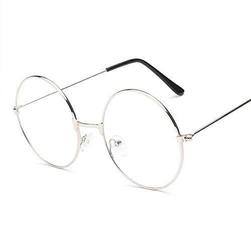 mi ji Montura Redonda de Estilo Retro para Gafas, Unisex, con Cristal Transparente Plateado Plateado