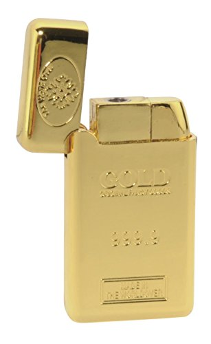 Nuovo oro bar design antivento accendisigari con scatola regalo sunnydeals® (Bic Holder Lighter)