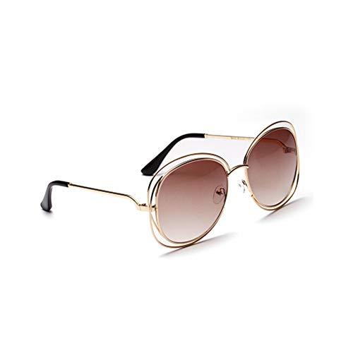 SUNNYJ Sonnenbrille Frauen Oval Übergroßen Doppel Metallrahmen Sonnenbrille Große Transparente Linse Eyewear Personaltiy Shades 56 Transparenter Tee