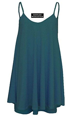 Fashion Fairies - Vestito da donna, svasato lungo, taglie forti, smanicato, stampato con motivo mimetico, taglia 36-54 Teal