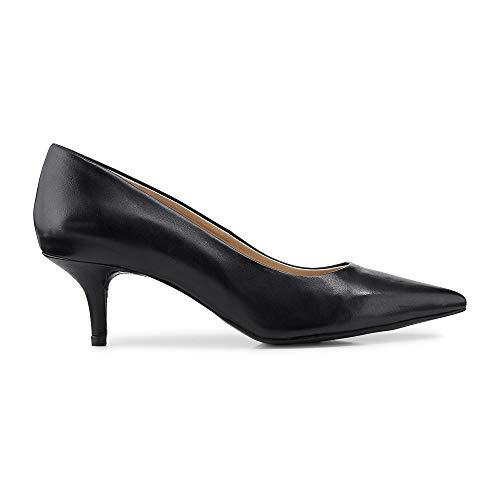Cox Damen Damen Klassik-Pumps aus Leder, High-Heels in Blau mit Pfennig-Absatz schwarz Glattleder 39